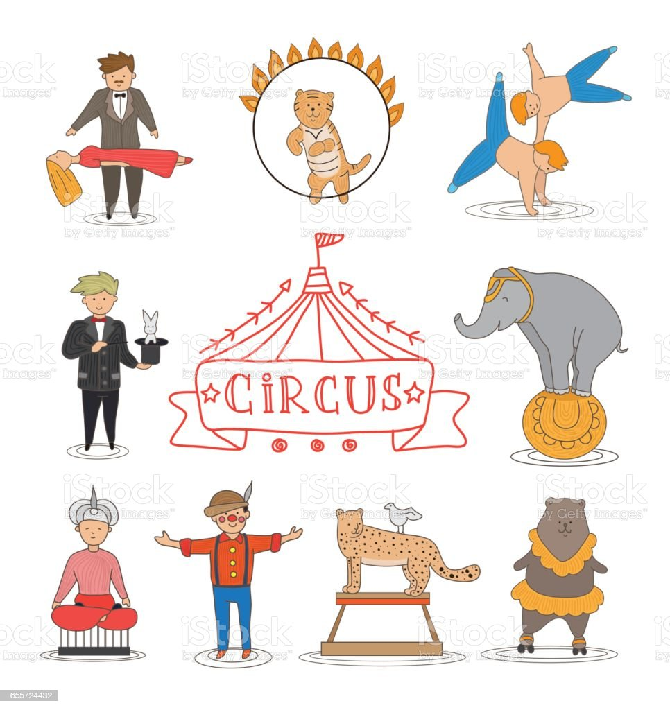 Circus Line Art Design Collection With Carnival Fun Fair