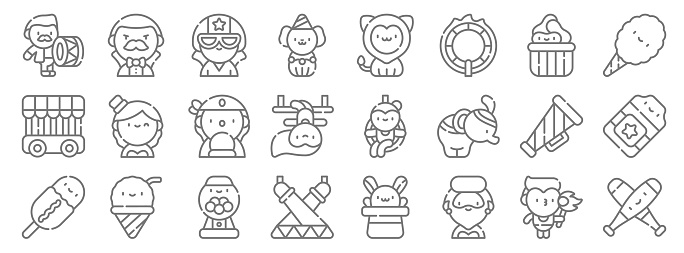 circus line icons. linear set. quality vector line set such as juggling, bearded woman, stage, corn dog, megaphone, fortune teller, cotton candy, lion, magician