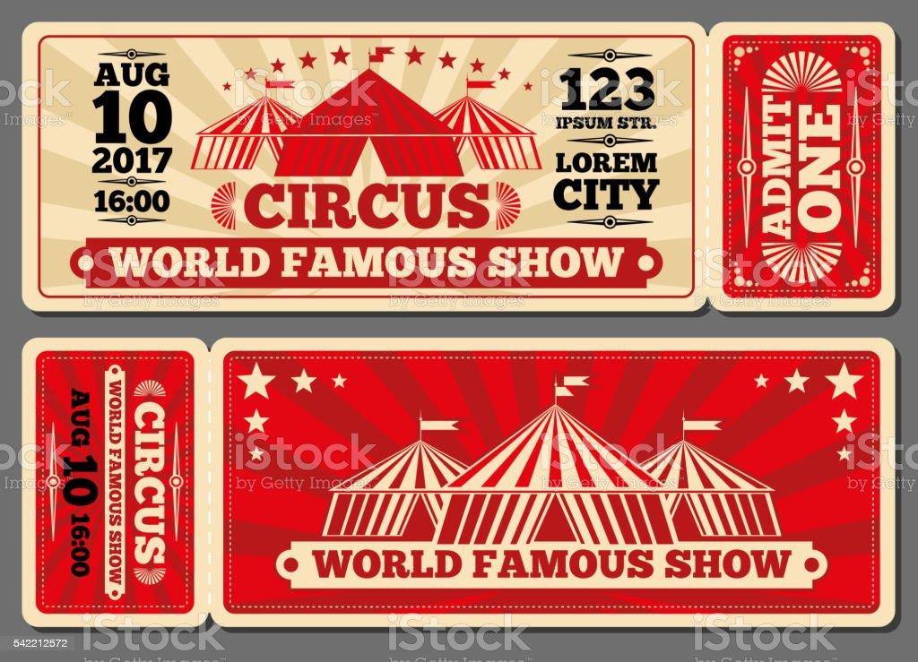 Circus magic show entrance vector tickets templates vector art illustration