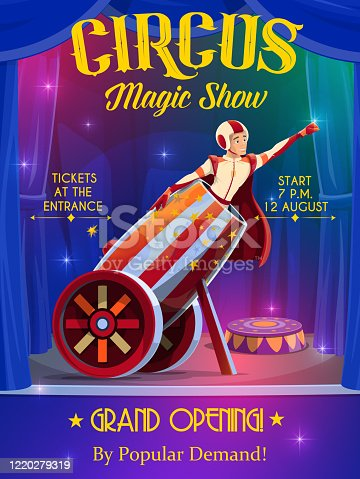 Circus and funfair carnival show, rocket man in cannon, vector retro poster. Big top circus shapito grand opening performance with bullet man in cannon with light shine sparkles on circus stage