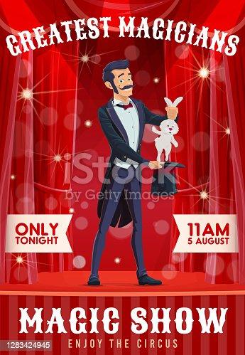 istock Circus magician show cartoon vector poster 1283424945