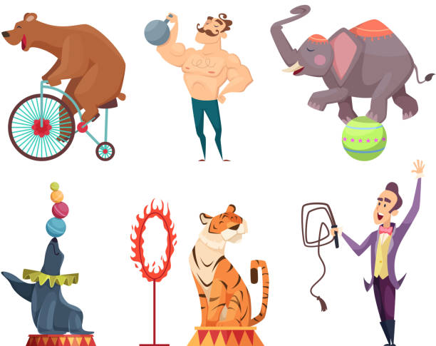 circus mascots. clouns, performers, juggler and other characters of circus - circus stock illustrations