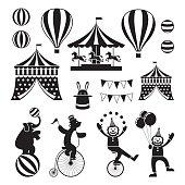 Circus Objects Icons Mono Set