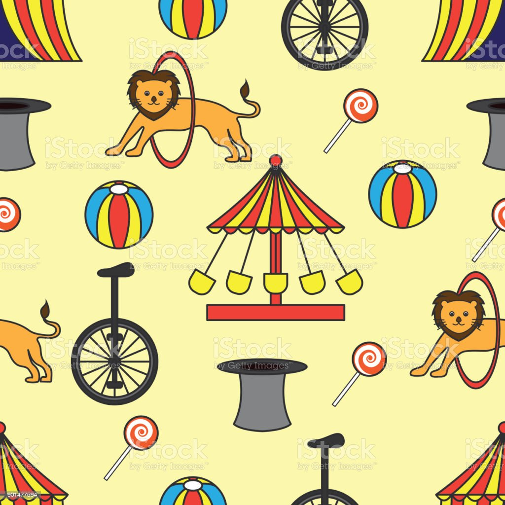 Circus Ornament Seamless Pattern Vector Illustration Stock Vector ...