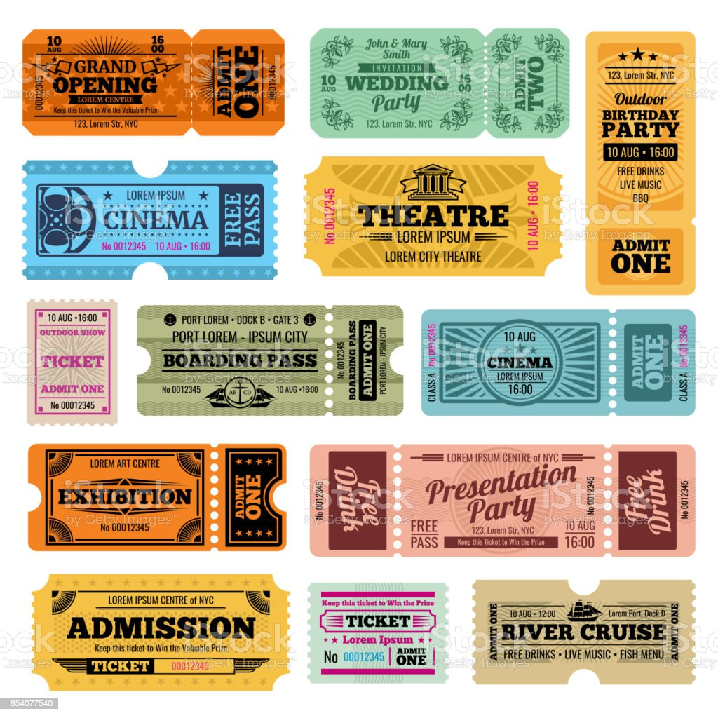 Circus, party and cinema vector vintage admission tickets templates vector art illustration