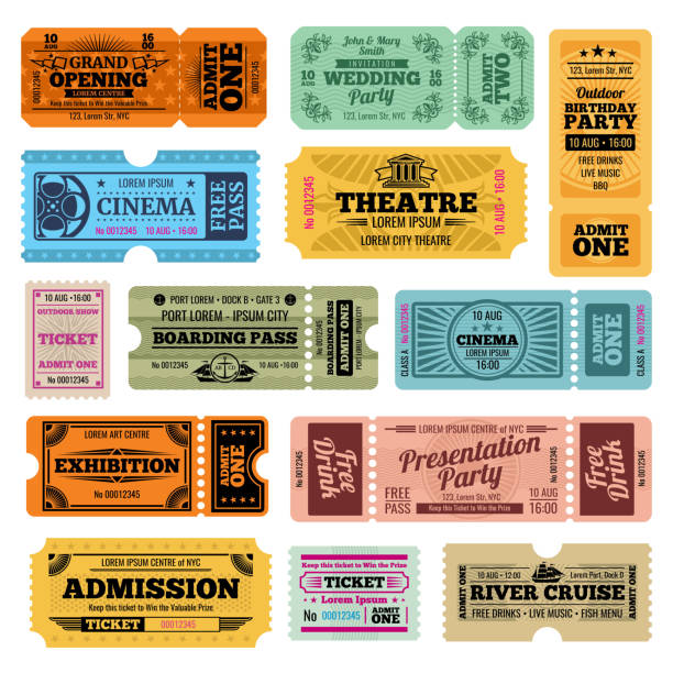 circus, party and cinema vector vintage admission tickets templates - tickets and vouchers templates stock illustrations
