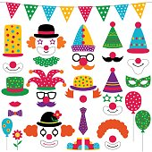 Circus party clown photo booth props, isolated vector elements set