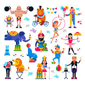 Circus people vector acrobat or clown and trained animals characters in circus-tent illustration set of magician and circusman with lion or elephant isolated on white background.