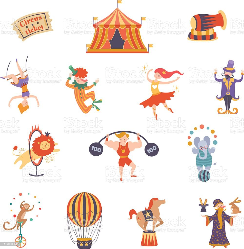 Circus performance decorative icons set with athlete animals magician vector vector art illustration