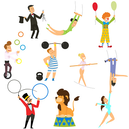 Circus performance decorative icons set with athlete animals magician vector illustration