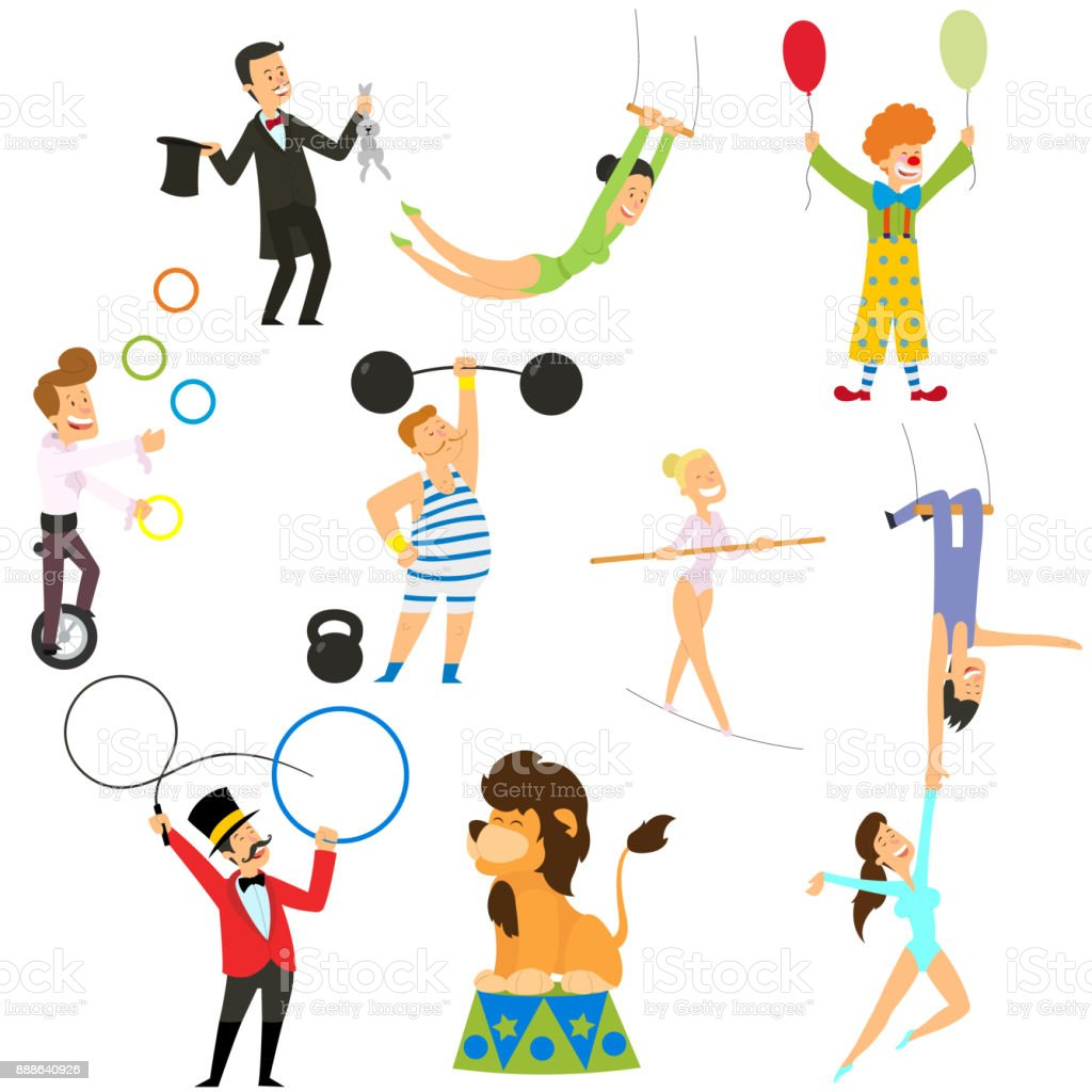 Circus performance decorative icons set with athlete animals magician vector illustration vector art illustration