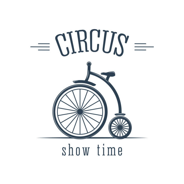 illustrazioni stock, clip art, cartoni animati e icone di tendenza di circus performance, interesting cheerful number, cycling, artist performs tricks - funfair entrance