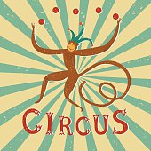 Circus performance vintage poster with  monkey.