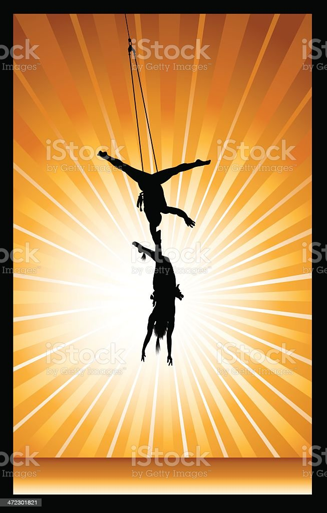 Circus Performer - Acrobats Background vector art illustration