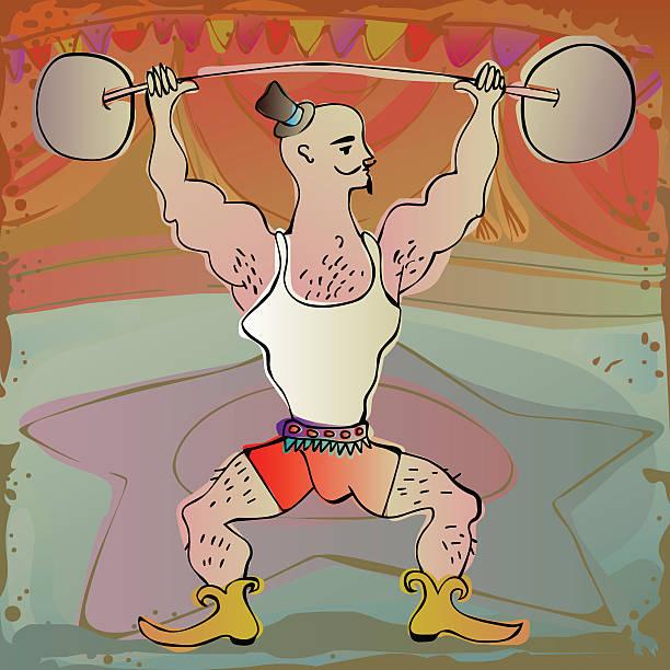 circus performer strong man vector art illustration