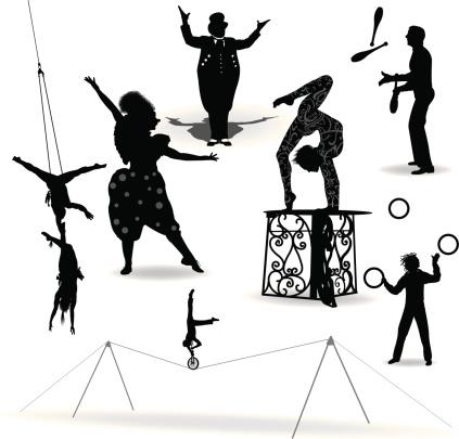 Circus Performers, Acrobat, Juggler, Clown, Ring Leader