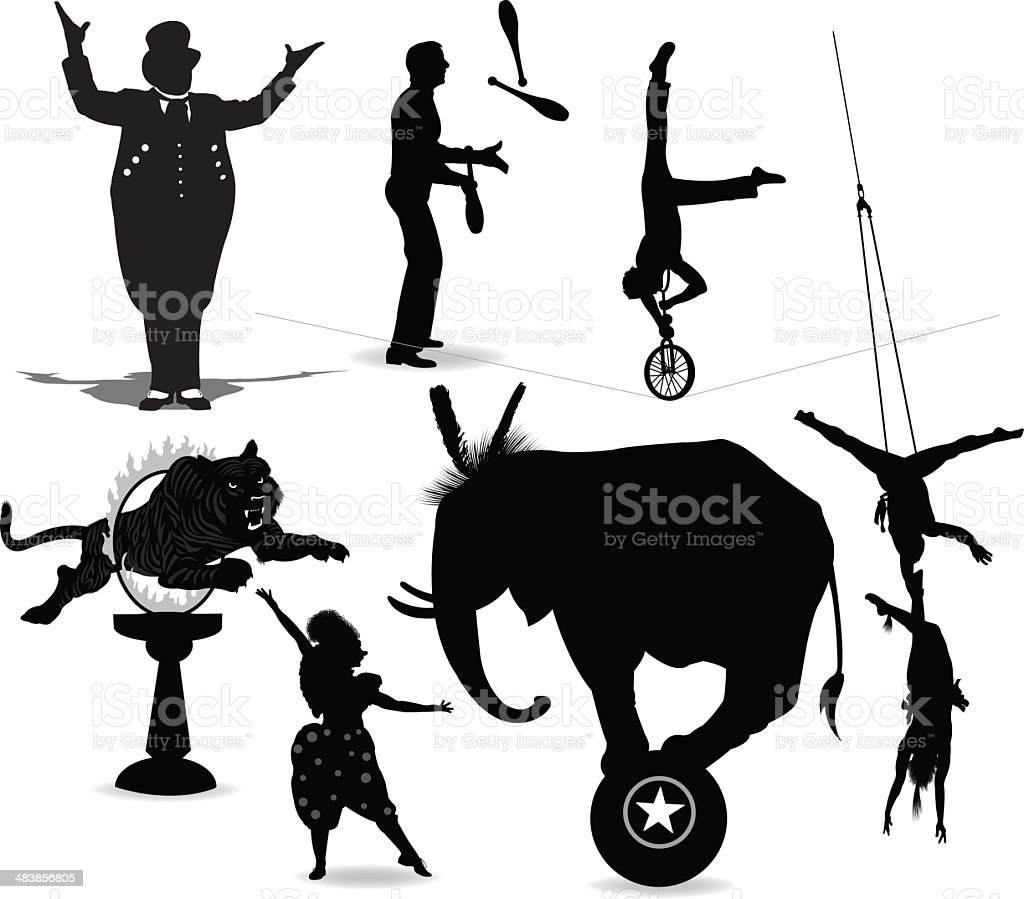 Circus Performers, Acrobat, Juggler, Clown, Ring Leader vector art illustration