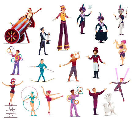 Circus performers, cartoon vector top tent artists