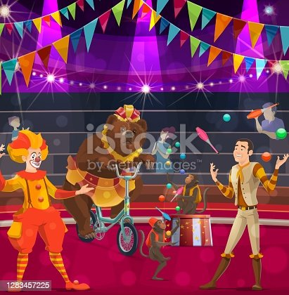 istock Circus performers poster clown, bear and tamer 1283457225