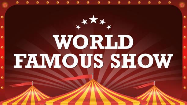 Circus Poster Banner Vector. Vintage Magic Show. Classic Big Top. Marquee. Arts Festival. Illustration Circus Poster Template Vector. Circus Tent Background. Classic Big Top. Amusement Park Party. Arts Festival. Illustration temps stock illustrations