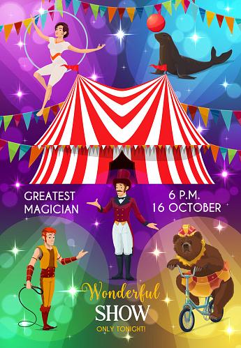 Circus poster, funfair carnival show performers