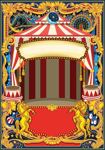 Circus Poster Vector Frame