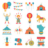Circus collection with carnival, fun fair, vector icons and background and illustration Colored icons collection.Circus collection with carnival, fun fair, vector icons and background and illustration Colored icons collection.
