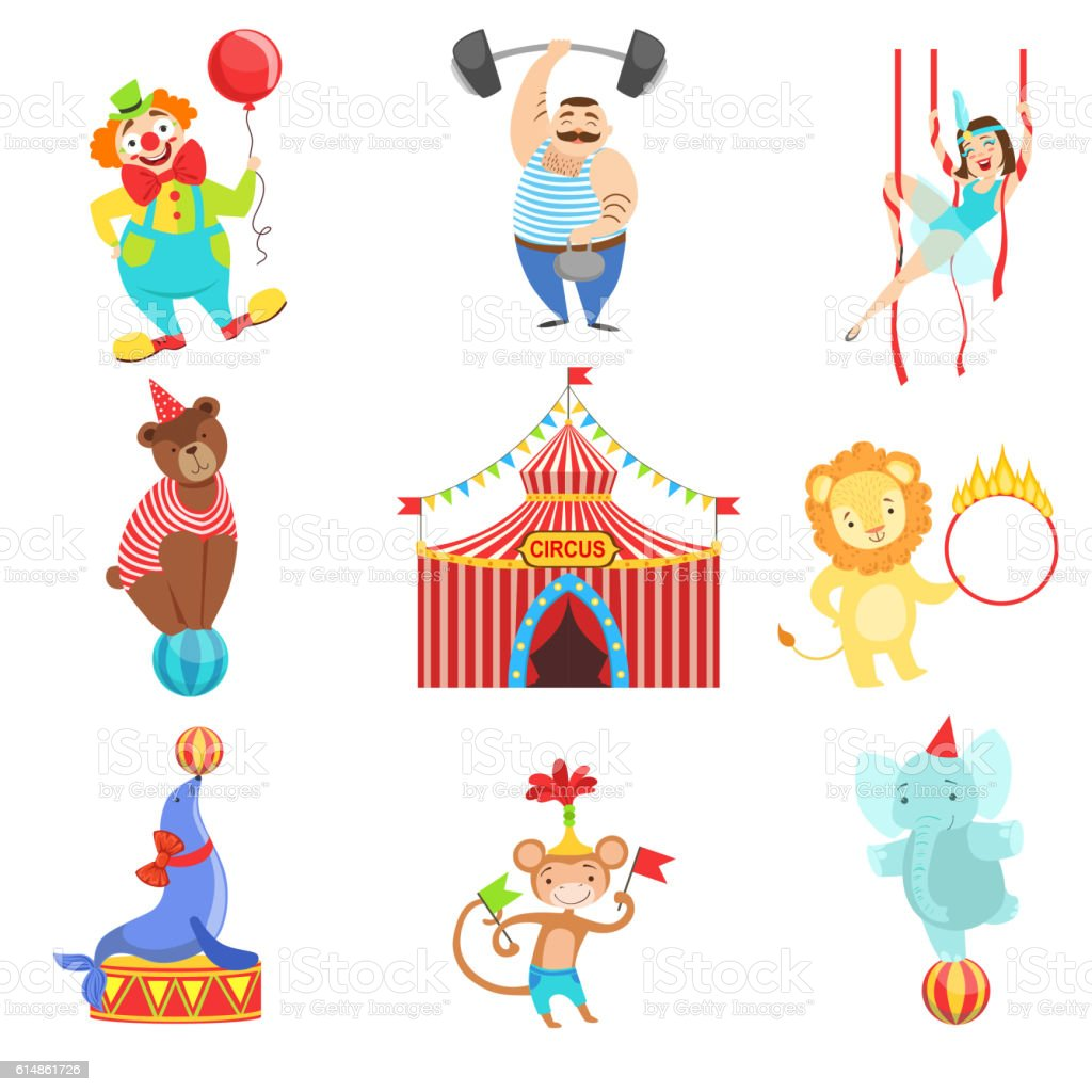 Circus Related Objects And Characters Set vector art illustration