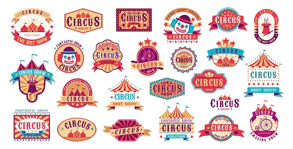 Circus retro labels. Vector carnival event stickers for invitation, vintage show framing shapes