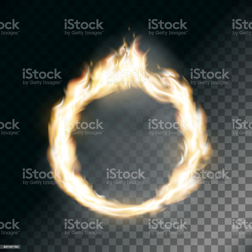 Circus ring on fire. vector art illustration