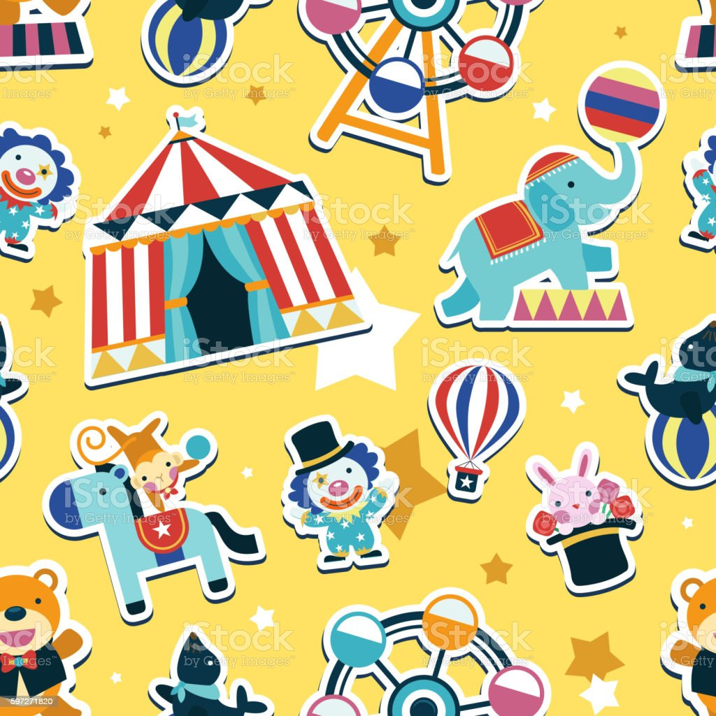 Circus motif sans couture. circus motif sans couture – cliparts vectoriels et plus d'images de abstrait libre de droits