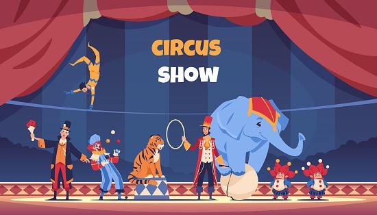 Circus show. Cartoon poster with clown and acrobat. Juggler and magician performing tricks. Trainer with elephant standing on ball and tiger jumping over ring. Vector carnival actors