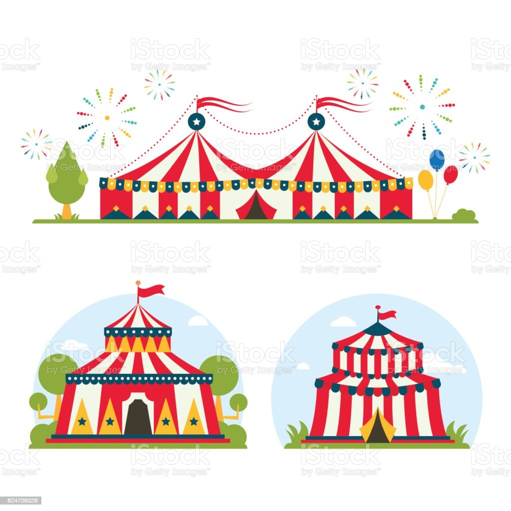 Circus show entertainment tent marquee marquee outdoor festival with stripes and flags isolated carnival signs royalty  sc 1 st  iStock & Circus Show Entertainment Tent Marquee Marquee Outdoor Festival ...
