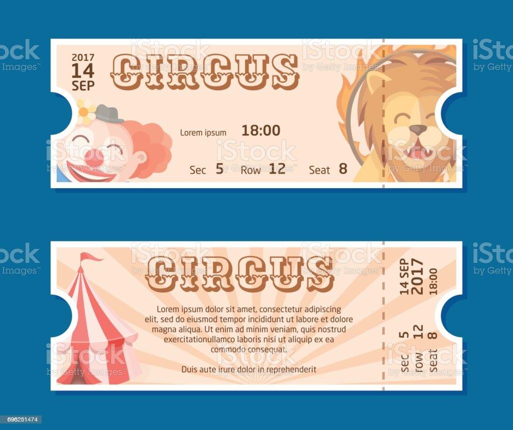 Zirkus Show Eingang Karten Vorlage Bunte Horizontale Vektor ...