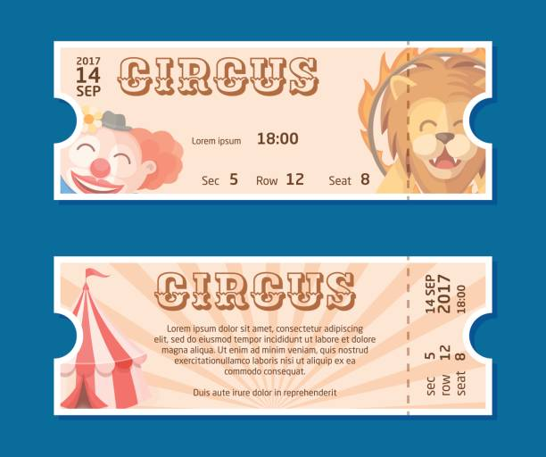 Circus show entrance tickets template.Colorful horizontal vector pass in cartoon flat style with trained lion, clown and circus tent. Front and back side of ticket illustration vector art illustration