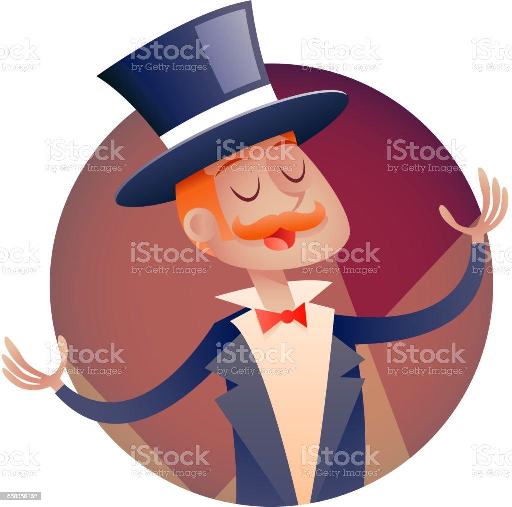 Zirkus-Show Host junge Mann im Anzug mit Zylinder-Hut-Symbol im stilvollen Rahmen Retro-Cartoon-Design-Vektor-Illustration – Vektorgrafik