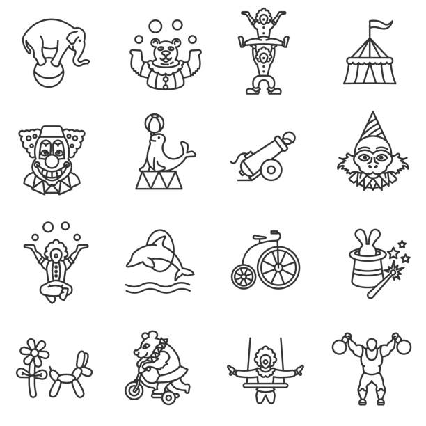 circus show icons set circus show icons set, line style. animals and acrobats isolated linear symbols collection. stunt stock illustrations