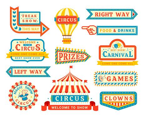 Circus show promo flat vector labels set