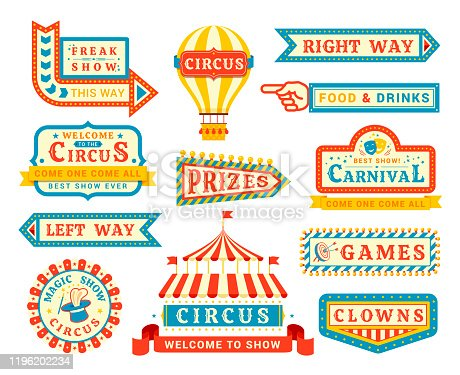 Circus show promo flat vector labels set. Freak show and magicians performance direction arrows isolated on white background. Circus arena, hot air balloon carnival advert with vintage style lettering