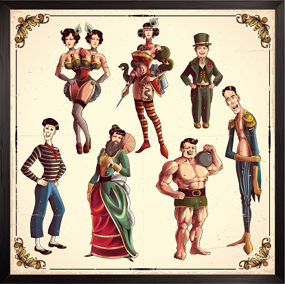 Circus show characters, in retro style. Eps8