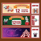 Circus show tickets vector templates with sample text on brown background