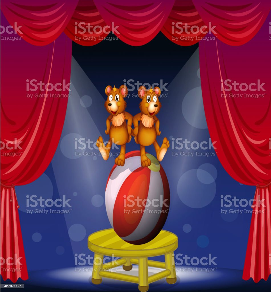 Circus show with two bears vector art illustration