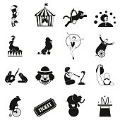 Circus simple icons set