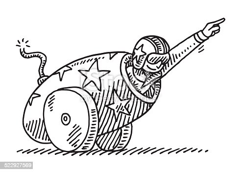 Hand-drawn vector drawing of a Brave Artist performing a spectacular Circus Stunt with a Cannon. Black-and-White sketch on a transparent background (.eps-file). Included files are EPS (v10) and Hi-Res JPG.