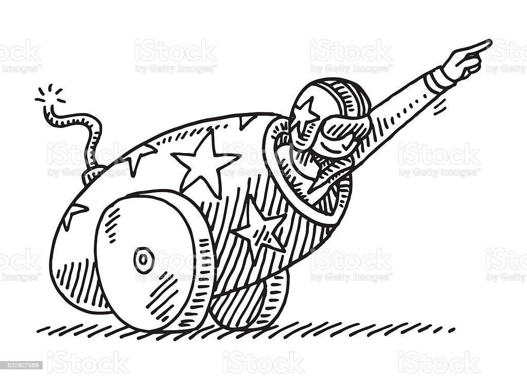 Circus Stunt Cannon Brave Artist Drawing vector art illustration