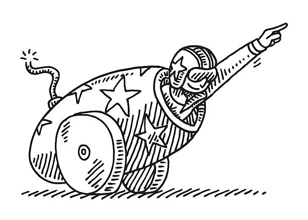 Circus Stunt Cannon Brave Artist Drawing Hand-drawn vector drawing of a Brave Artist performing a spectacular Circus Stunt with a Cannon. Black-and-White sketch on a transparent background (.eps-file). Included files are EPS (v10) and Hi-Res JPG. adventure drawings stock illustrations