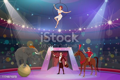 Circus show trick illusionist, animal tamer and acrobat. Vector big top circus performance magician with stick and hat, equilibrist on aerial hoop and elephant on ball juggling ring