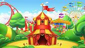 Circus tent. Amusement park. 3d vector landscape