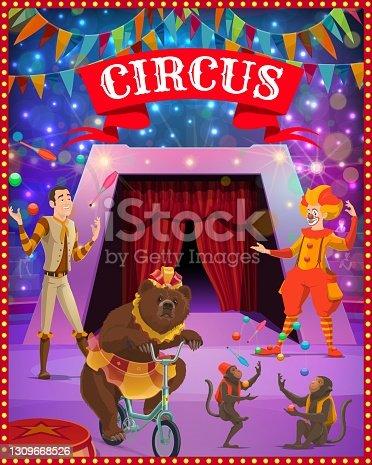 istock Circus tent arena, clown, juggler, bear, monkeys 1309668526