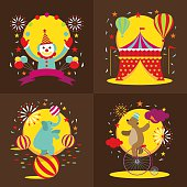 Circus Tent, Clown, Elephant, Bear Show